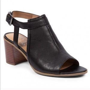 Franco Sarto Black Leather Harlet Sandal Heel 10
